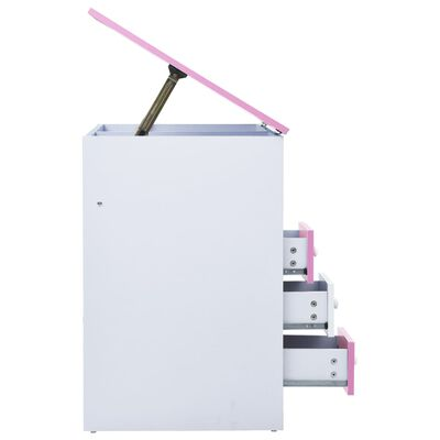 vidaXL Skrivbord för barn lutbart rosa och vit