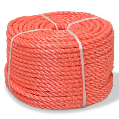 vidaXL Tvinnat rep i polypropylen 8 mm 200 m orange