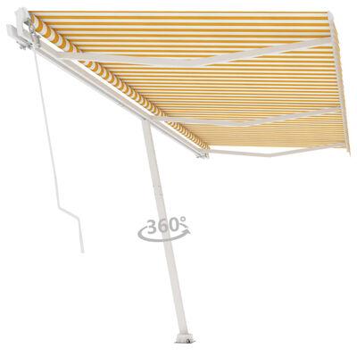 vidaXL Fristående markis manuellt infällbar 600x300 cm gul/vit