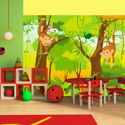 Fototapet - Jungle - Monkeys - 300x231 Cm