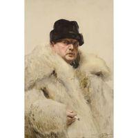 Self-portrait in a Wolfskin,Anders Zorn,60x40cm,