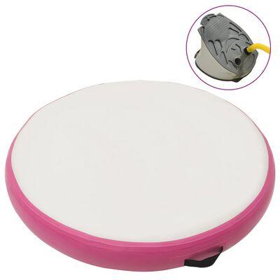 vidaXL Uppblåsbar gymnastikmatta med pump 100x100x10 cm PVC rosa, Rosa och grå