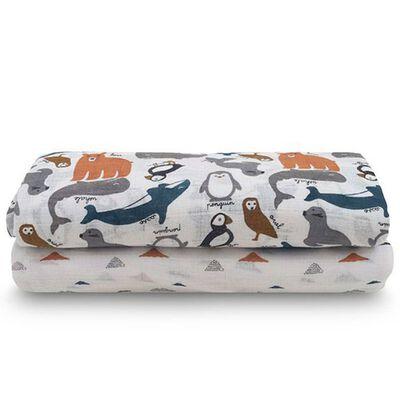 Jollein Multifunktionella handdukar 2 st Polar 115x115 cm flerfärgad