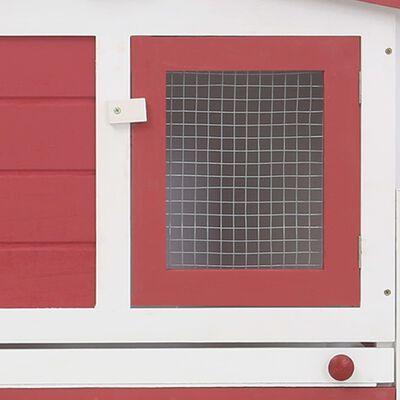 vidaXL Utebur för kanin röd och vit 204x45x85 cm trä