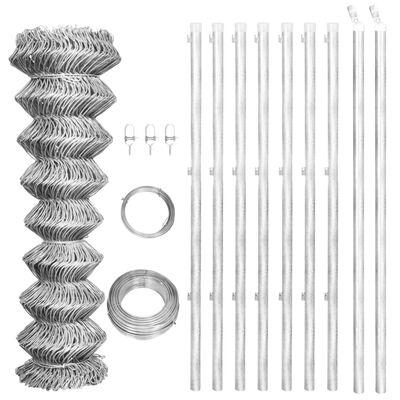 vidaXL Flätverksstängsel med stolpar galvaniserat stål 15x1 m silver