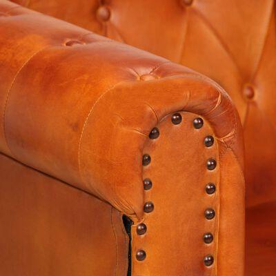 vidaXL Chesterfieldfåtölj ljusbrun äkta läder