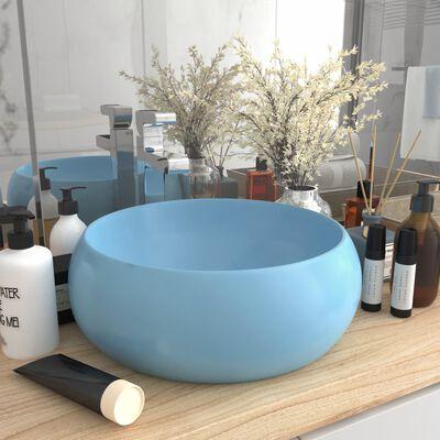 vidaXL Lyxigt runt handfat matt ljusblå 40x15 cm keramik