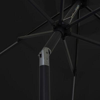 vidaXL Parasoll med LED-lampor och aluminiumstång 300 cm svart