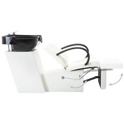 vidaXL Schamponeringsstol med handfat svart och vit konstläder