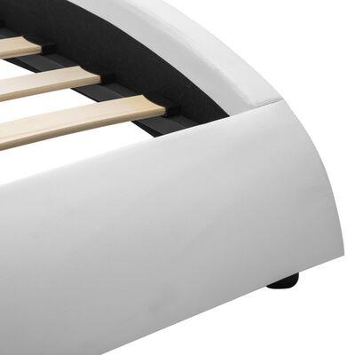 vidaXL Sängram med LED vit konstläder 140x200 cm