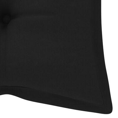 vidaXL Gungbänk med svart dyna 120 cm massiv teak