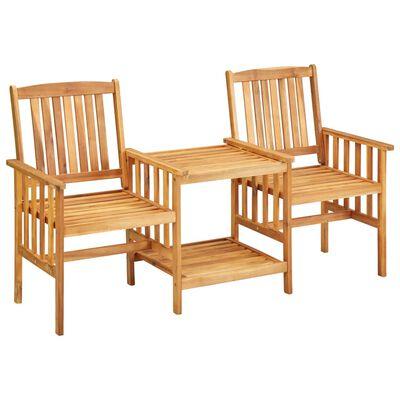 vidaXL Trädgårdsstolar med bord och dynor massivt akaciaträ