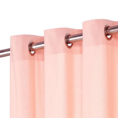 vidaXL Gardiner med metallringar 2 st bomull 140x225 cm rosa