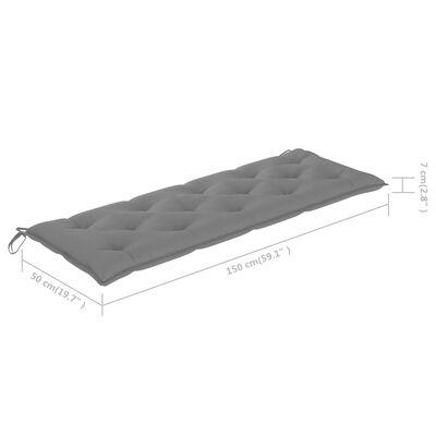 vidaXL Trädgårdsbänk med grå dyna 150 cm massiv teak