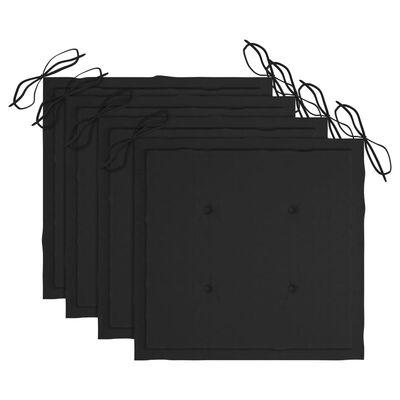 vidaXL Trädgårdsstolar med svarta dynor 4 st massivt teakträ
