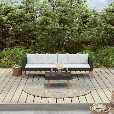 vidaXL Loungegrupp för trädgården med dynor 2 delar konstrotting svart