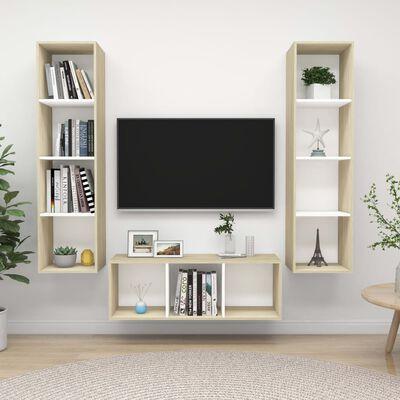vidaXL TV-skåp 3 delar vit och sonoma-ek spånskiva