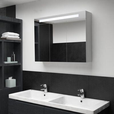 vidaXL Badrumsskåp med spegel LED 88x13x62 cm