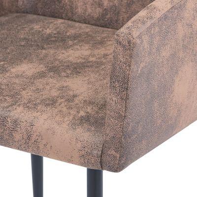 vidaXL Matstolar med armstöd 4 st brun konstmocka