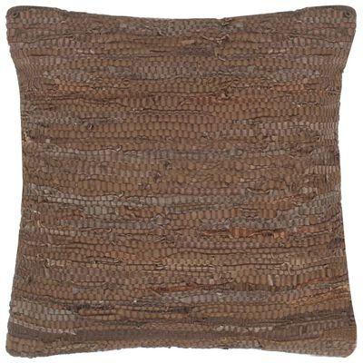 vidaXL Kuddar 2 st chindi brun 45x45 cm läder och bomull