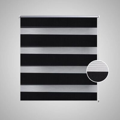 Rullgardin randig svart 70 x 120 cm transparent, Svart