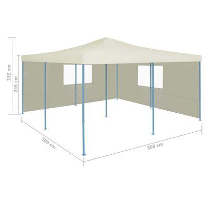vidaXL Hopfällbart partytält med 2 sidoväggar 5x5 m gräddvit