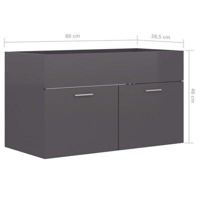 vidaXL Tvättställsskåp grå högglans 80x38,5x46 cm spånskiva