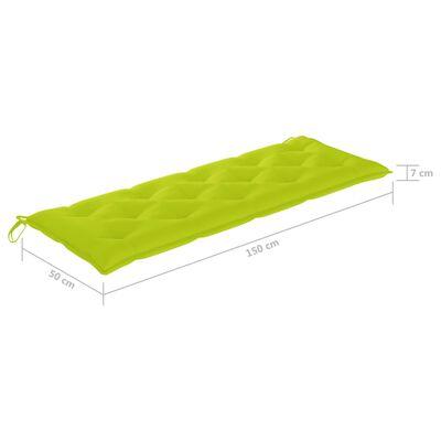 vidaXL Bänkdyna för trädgården ljusgrön 150x50x7 cm tyg