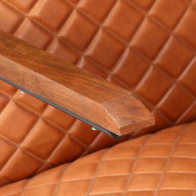 vidaXL Fåtölj ljusbrun äkta läder