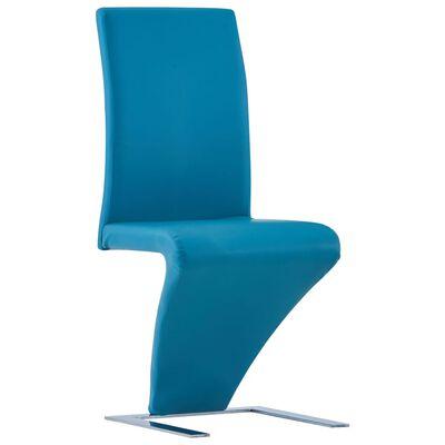 vidaXL Matstolar med sicksack-form 4 st blå konstläder