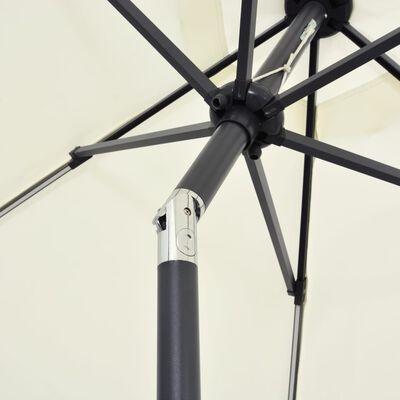vidaXL Parasoll med LED-lampor och aluminiumstång 300 cm sandvit