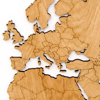 MiMi Innovations Väggdekoration världskarta trä Exclusive ek 130x78 cm