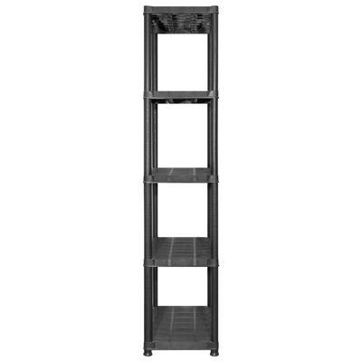 vidaXL Förvaringshylla 5 hyllor svart 213x38x170 cm plast