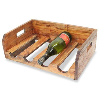 vidaXL Vinställ 4 st för 16 flaskor massivt återvunnet trä