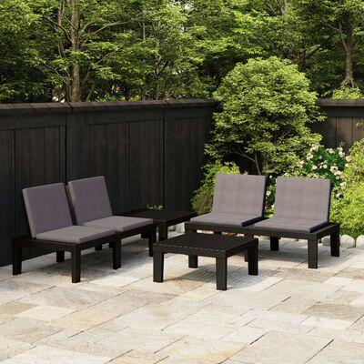 vidaXL Loungegrupp för trädgården 4 delar med dynor plast grå