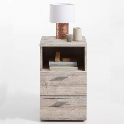 FMD Sängbord med 2 lådor och öppen hylla sandek