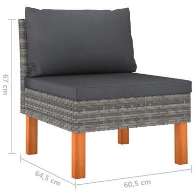 vidaXL Loungegrupp för trädgården 4 delar med dynor konstrotting grå