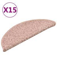 vidaXL Trappstegsmattor 15 st ljusrosa 56x17x3 cm