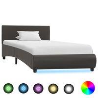 vidaXL Sängram med LED grå konstläder 100x200 cm