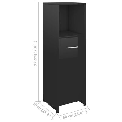 vidaXL Badrumsskåp svart högglans 30x30x95 cm spånskiva