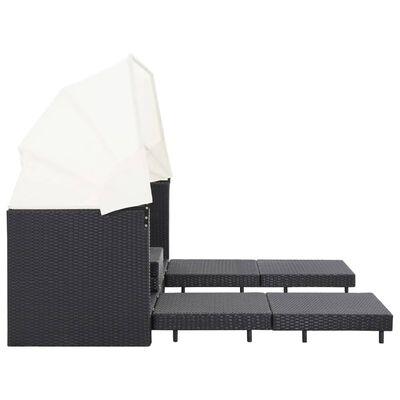 vidaXL Trädgårdssäng 3-sits förlängningsbar med tak konstrotting svart