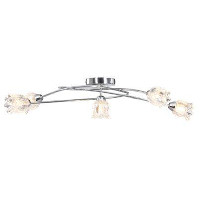 vidaXL Taklampa med glasskärmar för 5 G9-lampor blommor