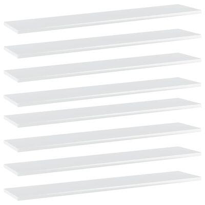 vidaXL Hyllplan 8 st vit högglans 100x20x1,5 cm spånskiva