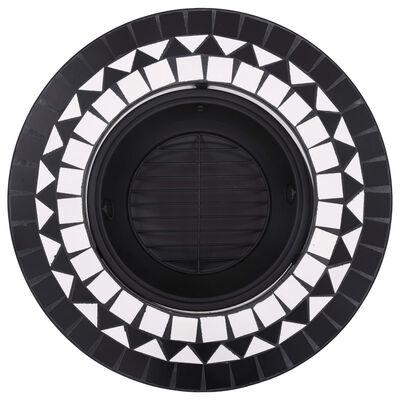 vidaXL Eldgrop i mosaik svart och vit 68cm keramik