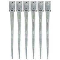 vidaXL Jordspett 6 st silver 9x9x90 cm galvaniserat stål