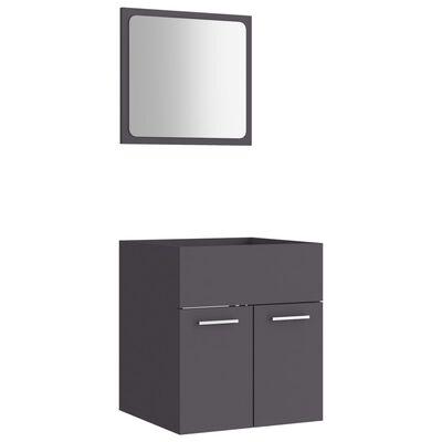 vidaXL Badrumsmöbler set 2 delar grå spånskiva