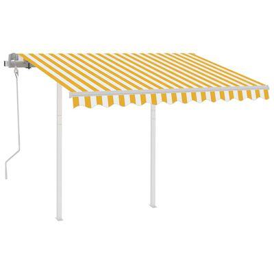 vidaXL Markis med stolpar manuellt infällbar 3,5x2,5 m gul och vit