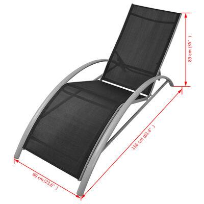 vidaXL Solsäng aluminium svart
