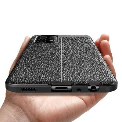 Läder Mönstrat Tpu Skal Samsung Galaxy A02s-svart,