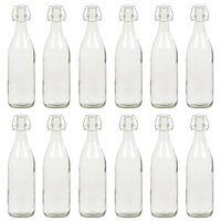 vidaXL Glasflaska med lock 12 st 1 liter